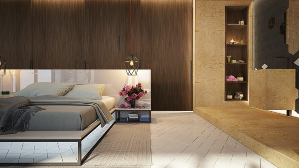 модерни-спални-интериор-легло-дърво