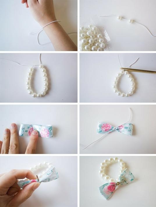 направи си сам гривни перли панделка