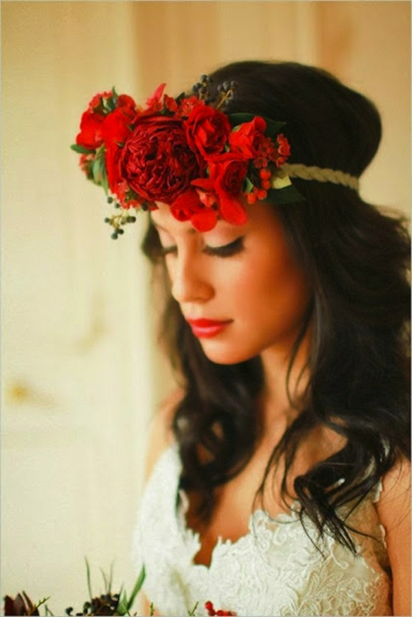 сватбени аксесоари коса цветя червени