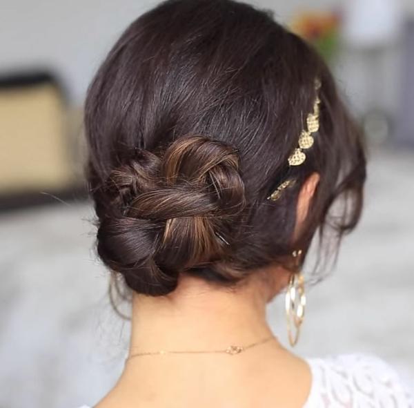сватбени-прически-вдигната-коса-нисък-кок