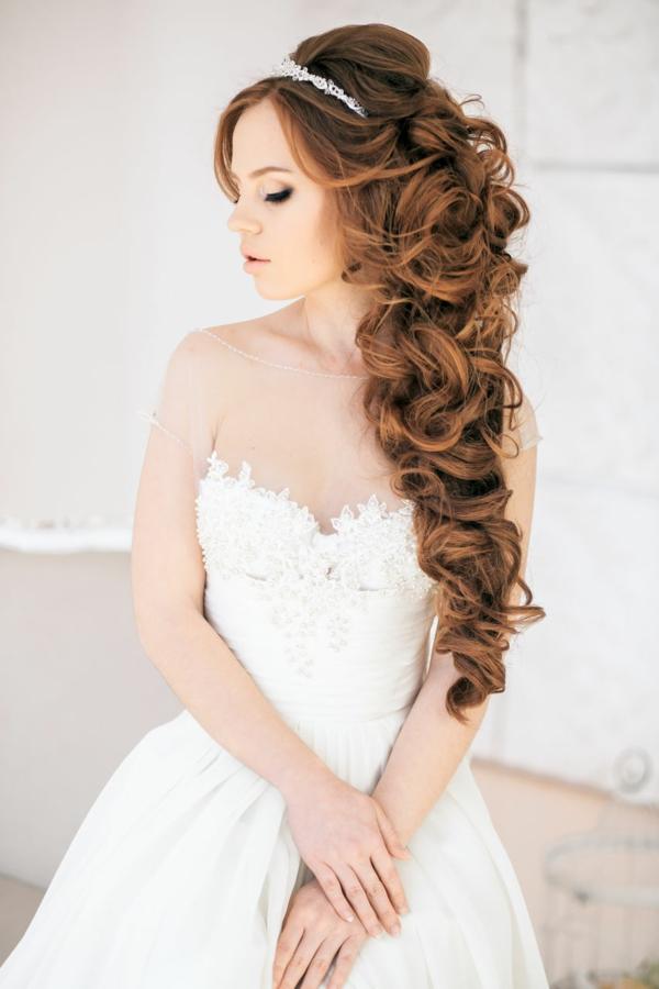 сватбени прически с пусната коса идеи