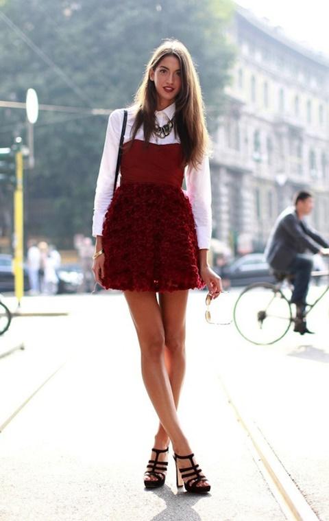 червена рокля стрийт стайл къса