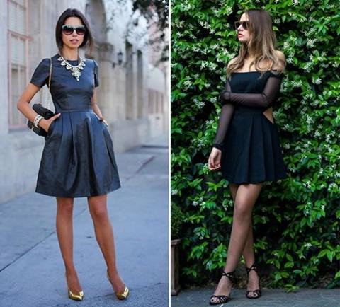 стрийт стайл малка черна рокля мода