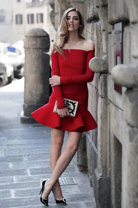 стрийт стайл червена рокля чиара ферани