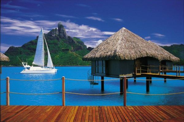 къщи-таити-лодка-океан