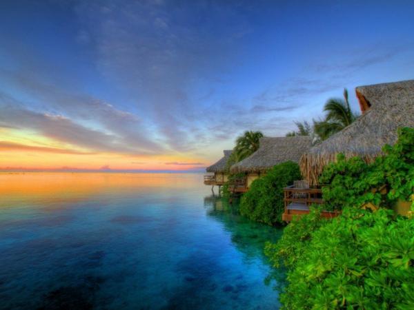 таити-залез-къщи-природа-океан