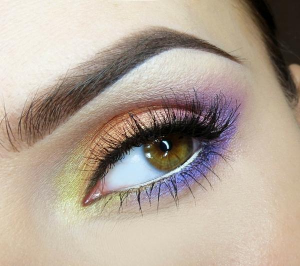 летен грим зелени очи цветен