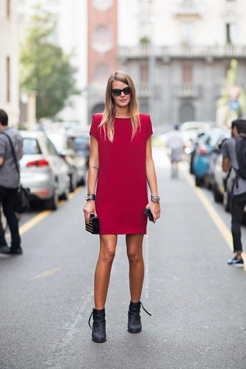 червена рокля стрийт стайл