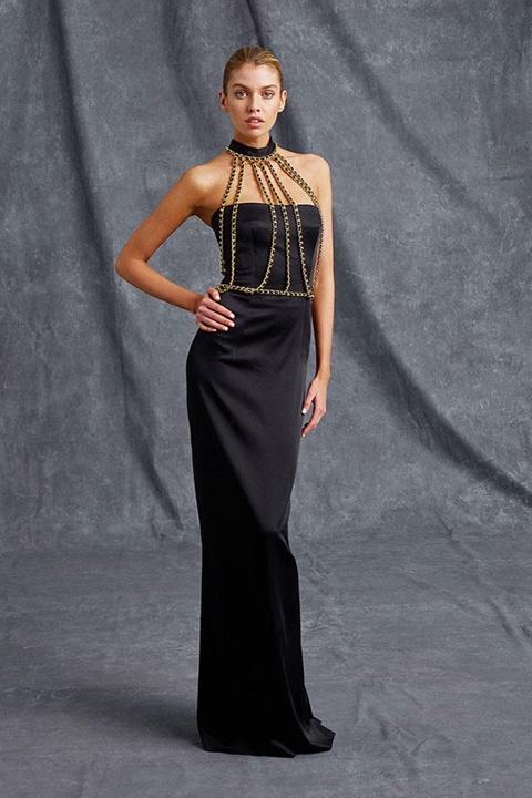 дълга черна елегантна рокля