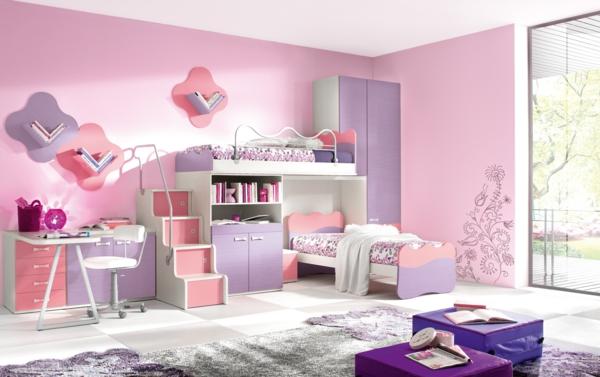 детска стая две момичета интериорен дизайн розово обзавеждане