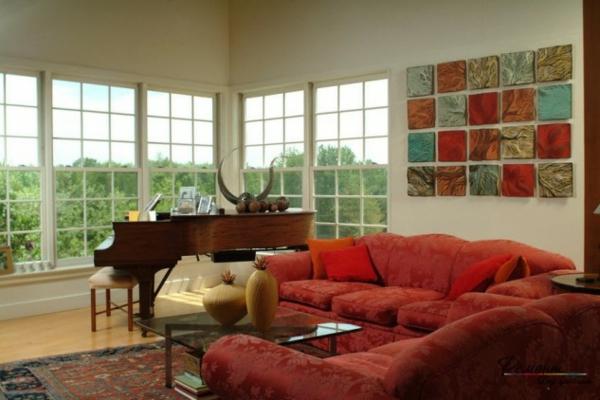 hol art stil interioren dizain obzavejdane cherveno divan