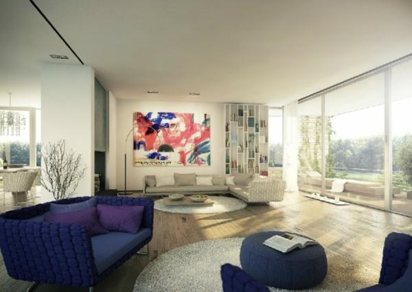 interioren dizan hol art stil obzavejdane lilavo divan bqlo
