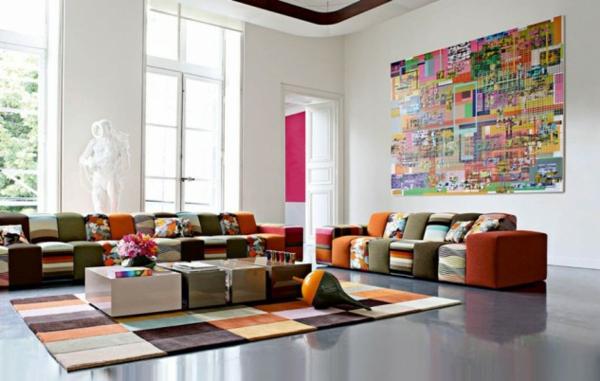 interioen dizain hol art stil obzavejdane divani kartini kilim