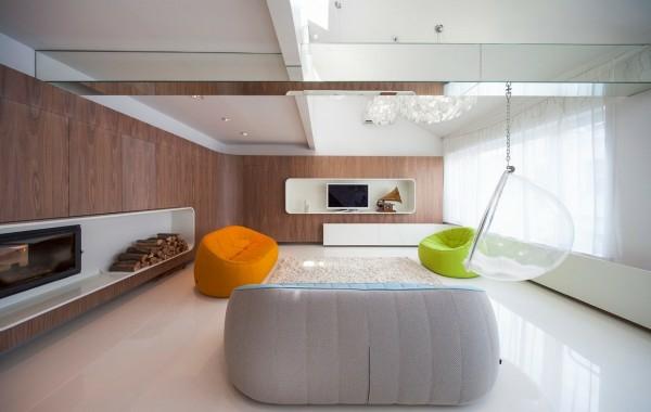 interioren dizain apartament futuristichen stil mebeli kamina