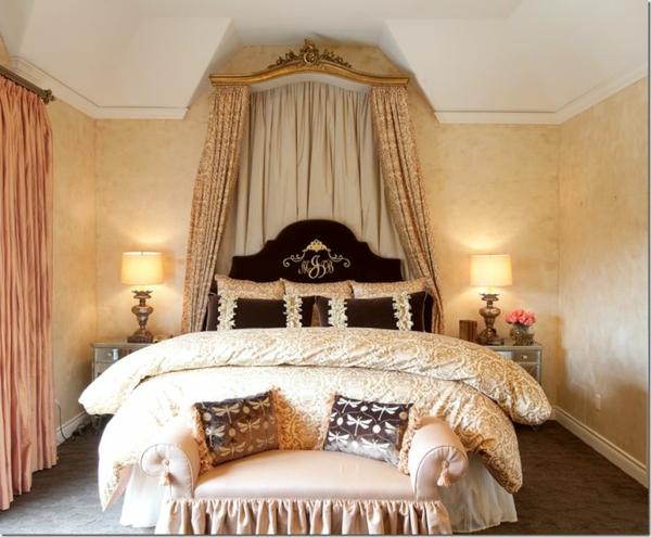 interior spalnq frenski stil dizain obzavejdane leglo bejovo
