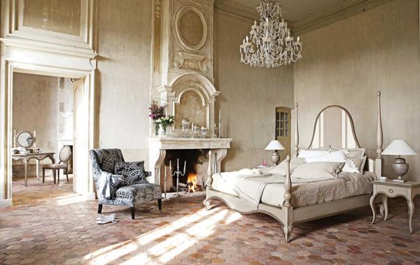 interior spalnq frenski stil kamina leglo mebeli polilei
