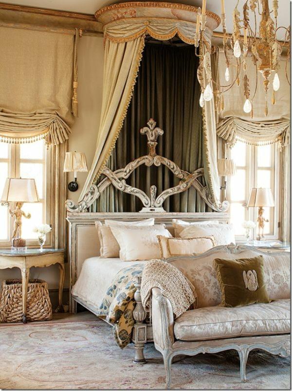 spalnq frenski stil interior obzavejdane bejovo leglo zavesi