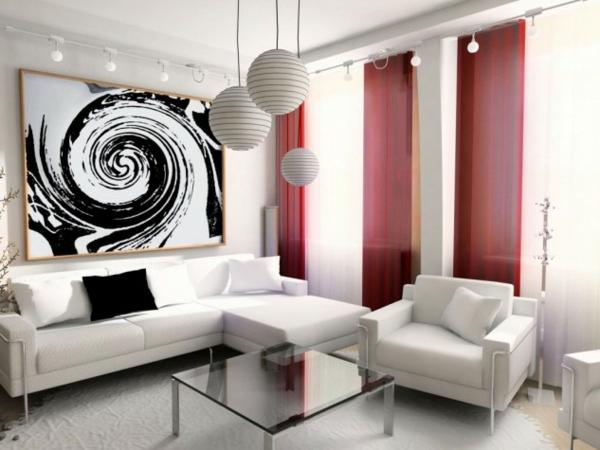interioren dizain hol art stil obzavejdane cherveno bqlo zavesi