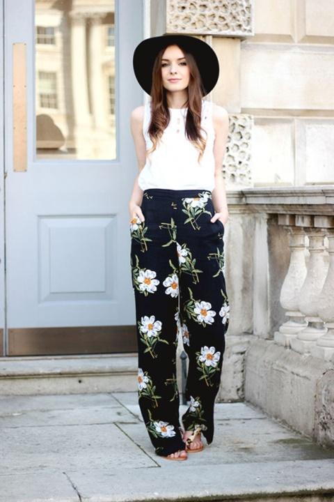 letni pantaloni cvetni pantaloni