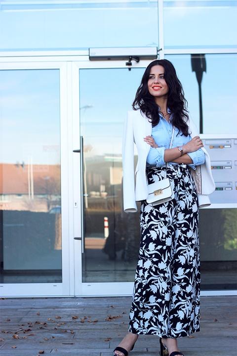 letni pantaloni print cherno bql