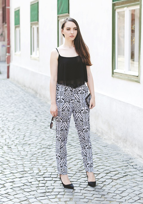 letni pantaloni print etno