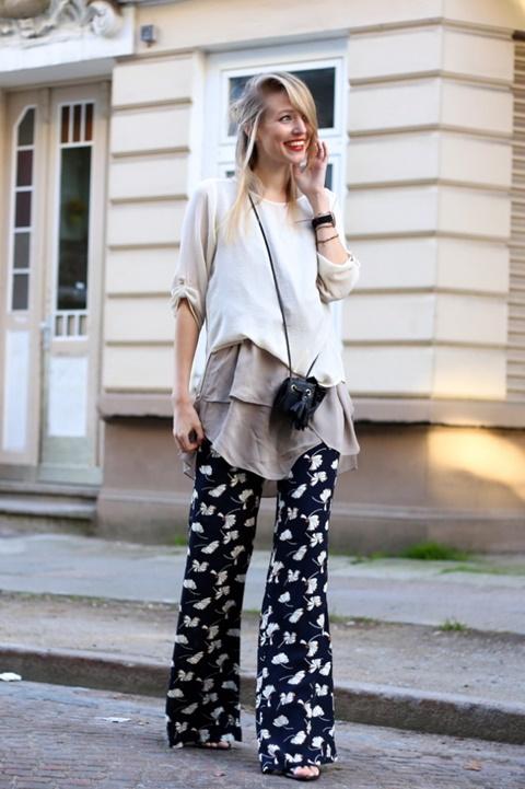 letni pantaloni print floralen