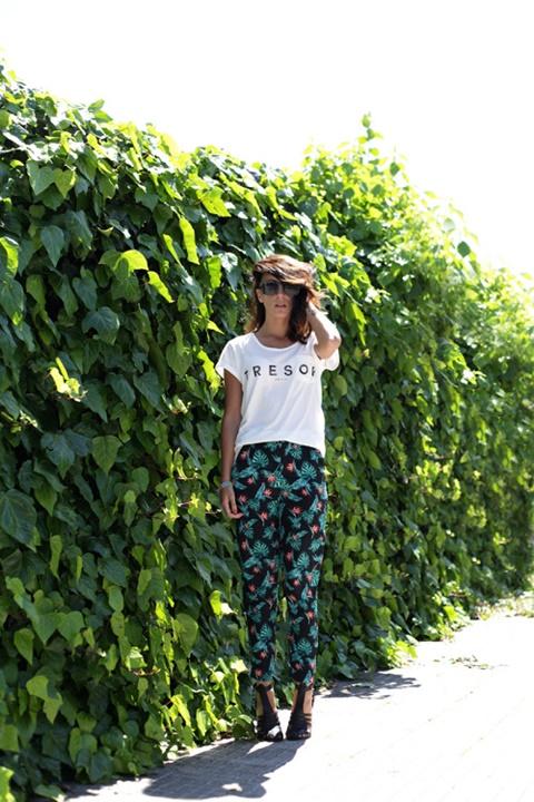 letni pantaloni print zelen