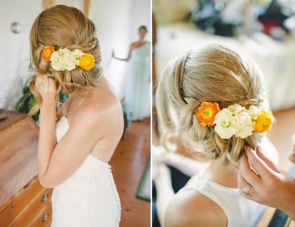 лятна сватбена прическа с прибрана коса и цветя