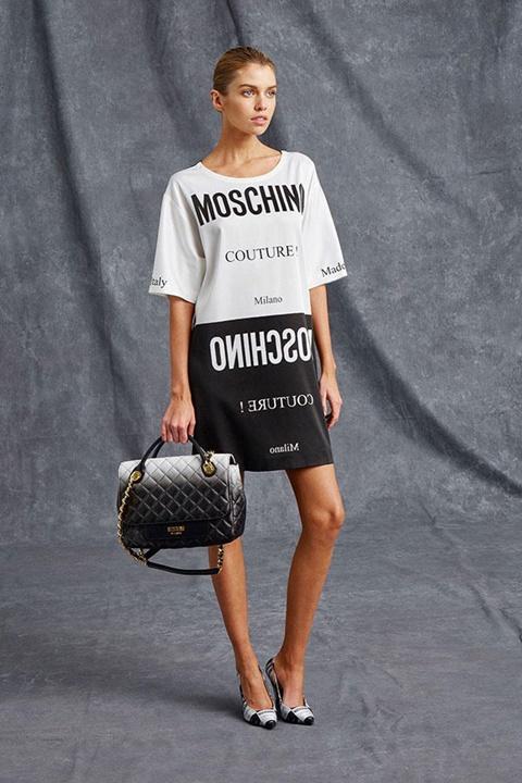Moschino Resort 2016 - черно бяла рокля