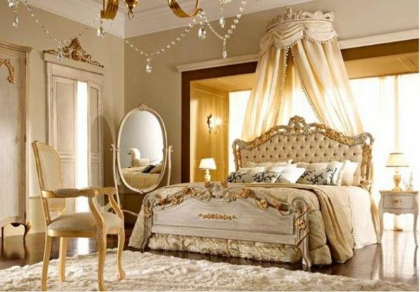 interior spalnq  frenski stil obzavejdane dizain bejovo leglo