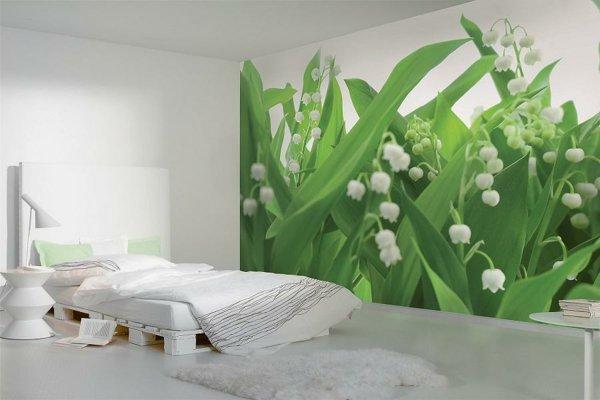 spalnq tapeti stena dizain fototapet zeleno cvete interior