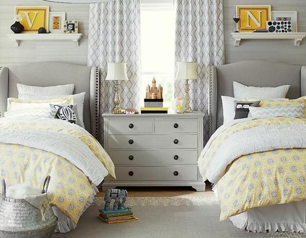 детска стая момичета жълто сиво