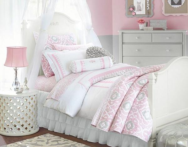 детска стая момичета бяло розово