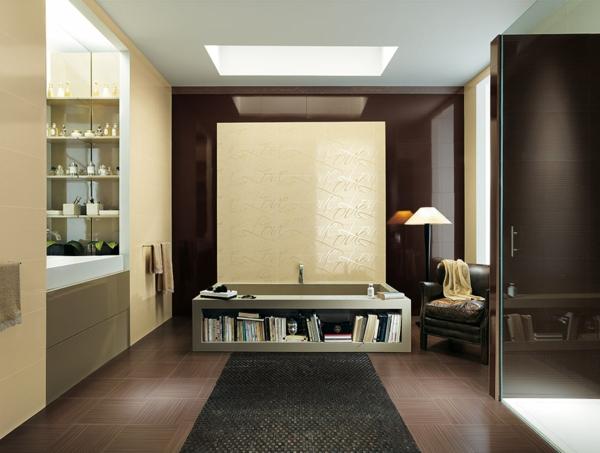 дизайн на баня бежово кафяво съвременен стил