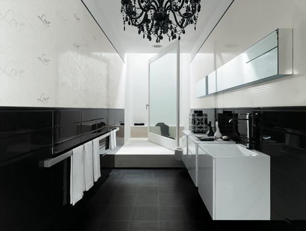 дизайн на баня бяло и черно мивки