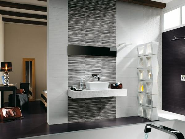 дизайн на баня бяло черно обзавеждане интериор