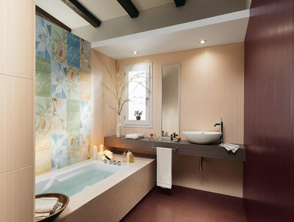 дизайн на баня вана модерен стил бежово