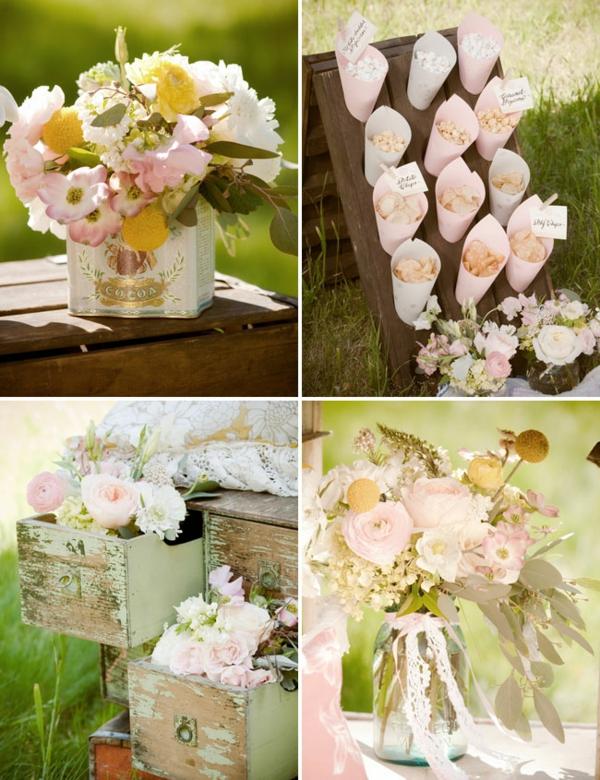 идеи винтидж сватба цветя декорация