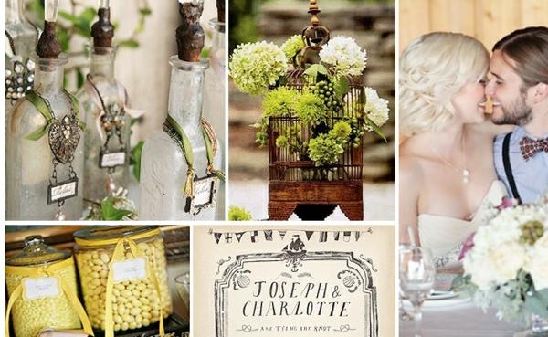 идеи за винтидж сватба младоженци декорация