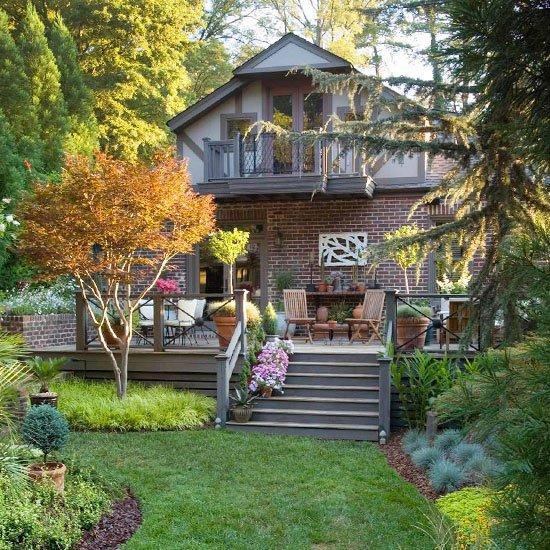 идеи за градината двор саксии цветя дървета