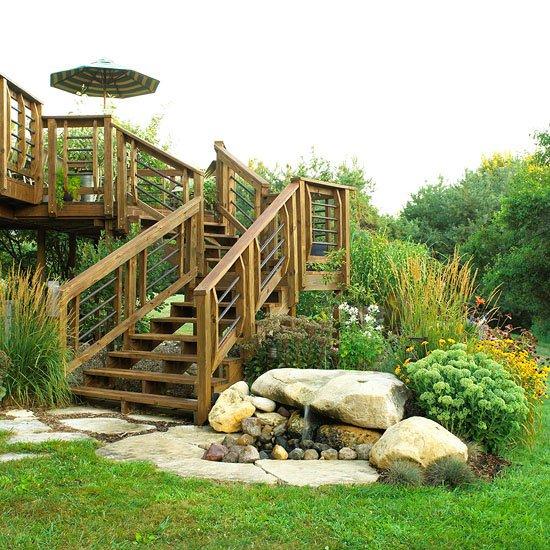 идеи градината камъни зелени растения