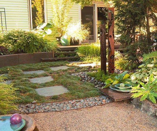 идеи за градината камъчета чакъл растения къща