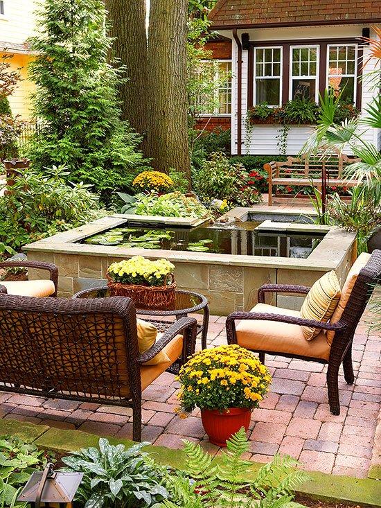 идеи градината мебели столове цветя