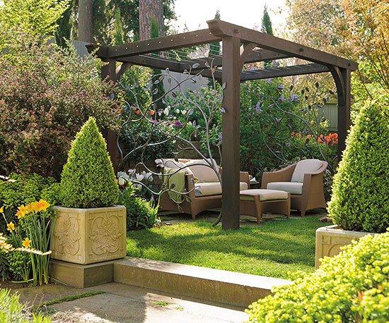 идеи за градината пергола храсти мебели