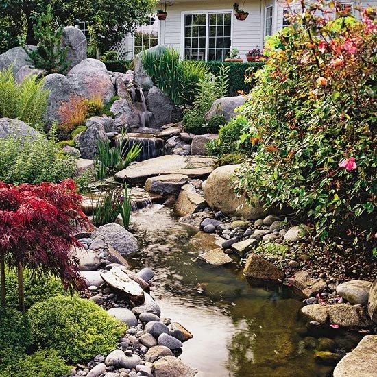идеи за градината река камъни растения дърво