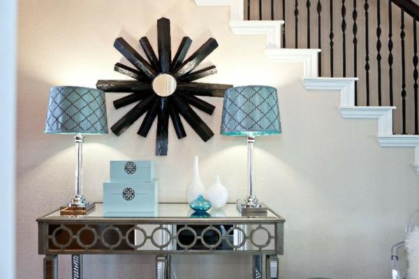 идеи дизайн коридор в сребристо и синьо