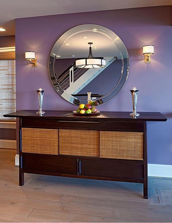идеи дизайн коридор в лилаво с голямо огледало