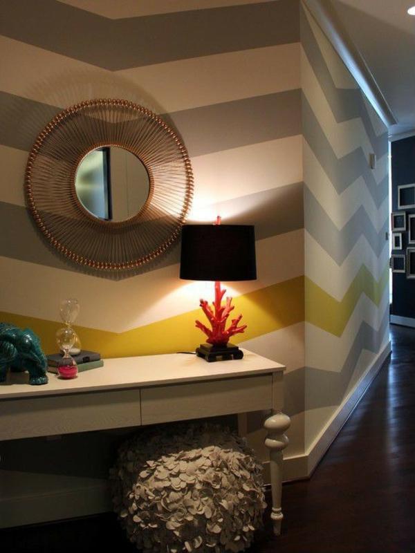 идеи дизайн коридор с тапети огледало мебели