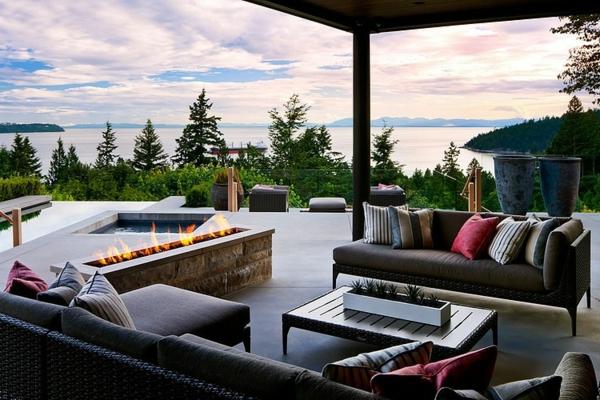идеи за дизайн на тераса камина басейн мебели
