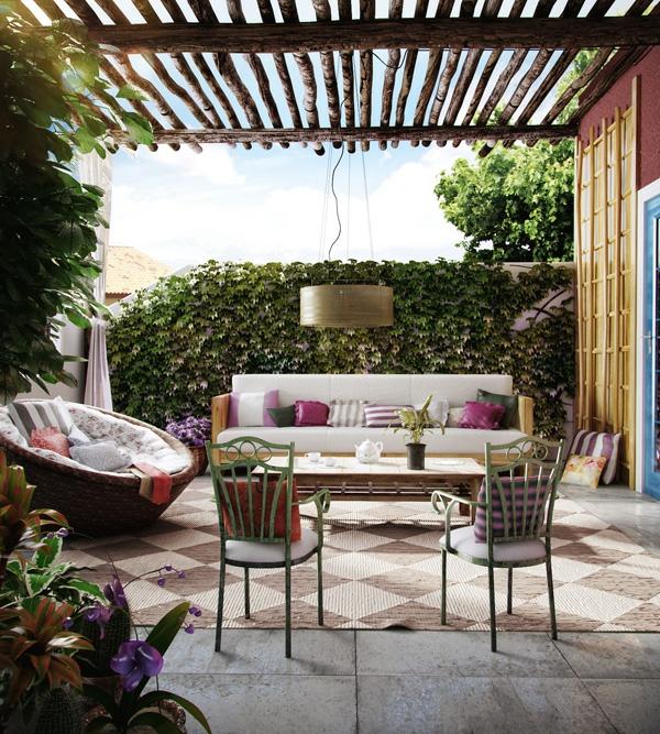 идеи за дизайн тераса пергола мебели